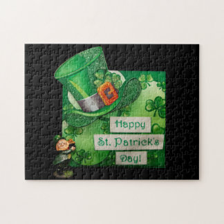 St. Patrick's Day Hat and Leprechaun Jigsaw Puzzle