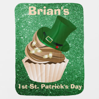 St Patricks Day Hat Cupcake Green Faux Glitter Receiving Blanket