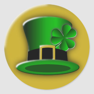 St Patricks Day Hat Round Stickers