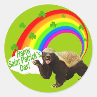 St. Patrick's Day Honey Badger Classic Round Sticker
