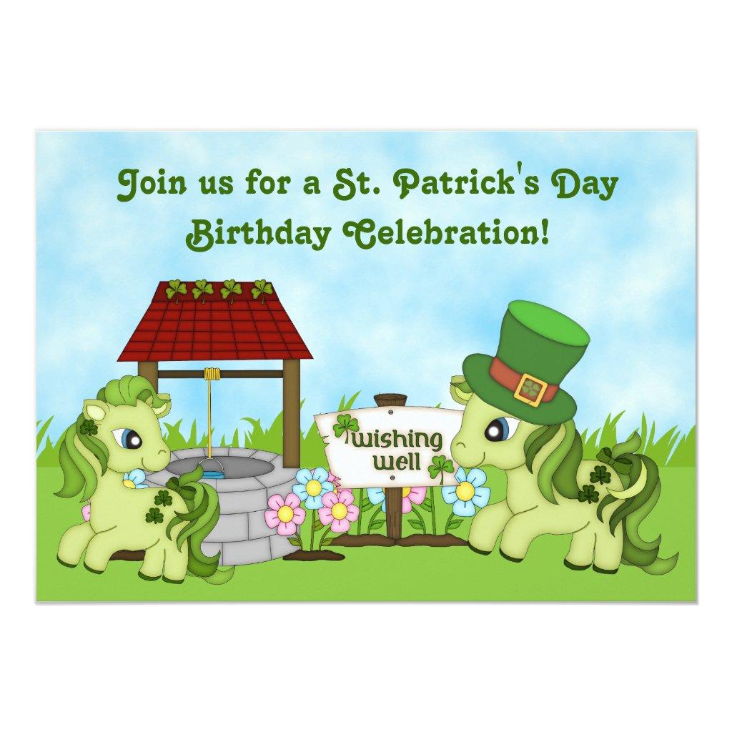 St Patrick's Day Horse Birthday Invitations