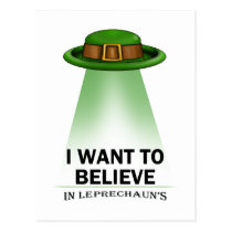 st. patrick's day, I want to believe Postcard