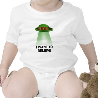 st. patrick's day, I want to believe Baby Bodysuits