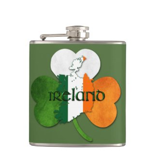 St. Patrick's Day / Ireland Map-Clover Hip Flask