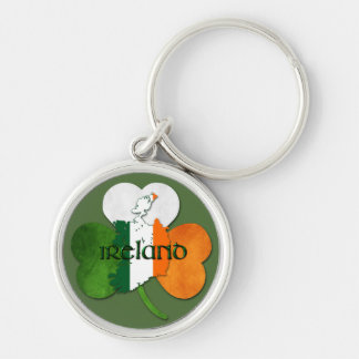 St. Patrick's Day / Ireland Map-Clover Silver-Colored Round Keychain
