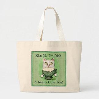St. Patrick's Day Irish Coffee Cat Large Tote Bag