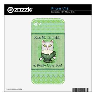 St. Patrick's Day Irish Coffee Cat iPhone 4 Skin