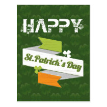 St Patrick's Day Irish flag banner card