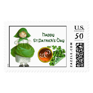 ST PATRICK'S DAY- IRISH GIRL  AGATE MONOGRAM POSTAGE