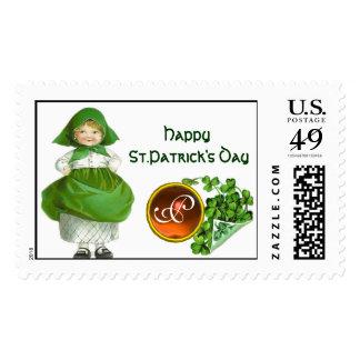 ST PATRICK'S DAY- IRISH GIRL  AGATE MONOGRAM STAMPS