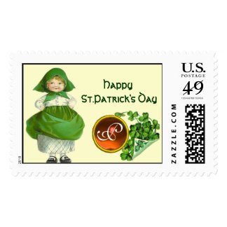 ST PATRICK'S DAY- IRISH GIRL  AGATE MONOGRAM POSTAGE STAMP