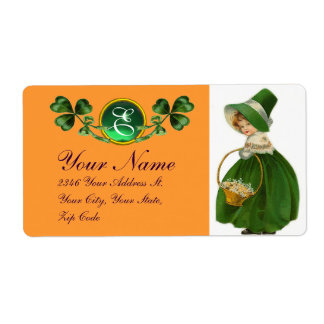 ST PATRICK'S DAY- IRISH GIRL AND SHAMROCKS LABEL