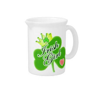 St Patrick's Day Irish Girl Beverage Pitcher