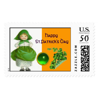 ST. PATRICK'S DAY- IRISH GIRL  EMERALD GEMSTONE POSTAGE