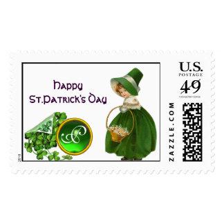 ST PATRICK'S DAY- IRISH GIRL  EMERALD MONOGRAM POSTAGE