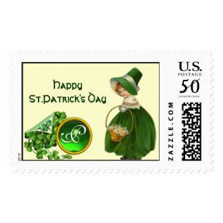 ST PATRICK'S DAY- IRISH GIRL  EMERALD MONOGRAM POSTAGE