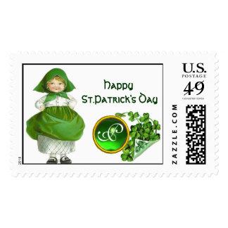 ST. PATRICK'S DAY- IRISH GIRL  EMERALD MONOGRAM POSTAGE STAMP