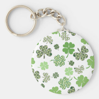 St. Patrick's Day Irish Green and White Clovers Keychain