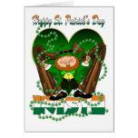 St.Patrick's Day Irish Harp Shamrock And Leprechau Card