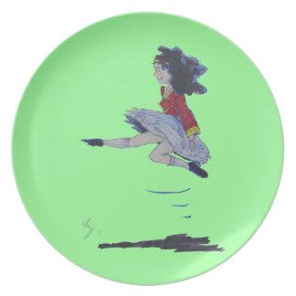 St. Patrick's Day Irish Jig Girl Cartoon Melamine Plate