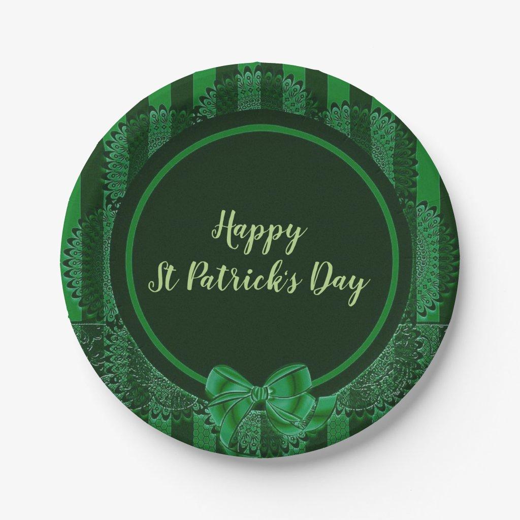 St. Patrick's Day - Irish Lace Round Paper Plate