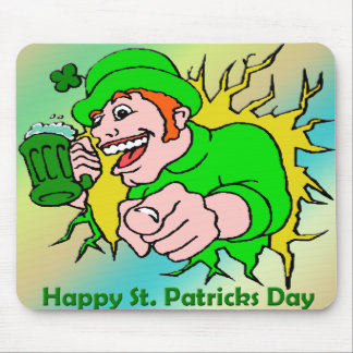 St Patrick's Day Irish Lad with Green Beer Mouse Pad