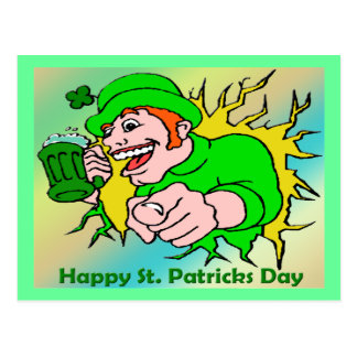 St Patrick's Day Irish Lad with Green Beer Postcard