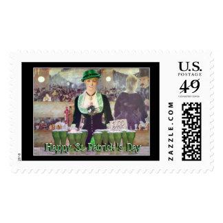St Patrick's Day Irish Lass Bartender Postage