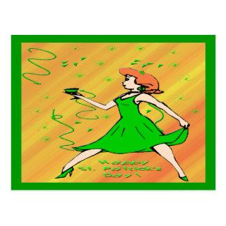 St Patrick's Day Irish Lass Postcard
