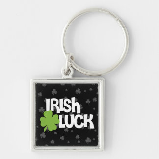 St. Patrick's Day Irish Luck Silver-Colored Square Keychain
