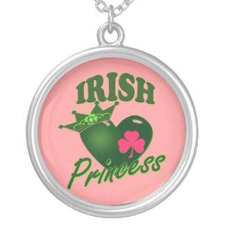 St Patricks Day Irish Princess Round Pendant Necklace