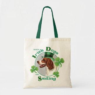 St. Patrick's Day Irish Red & White Setter Tote Bag