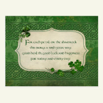 St. Patrick's Day Irish Shamrock Blessing Postcard