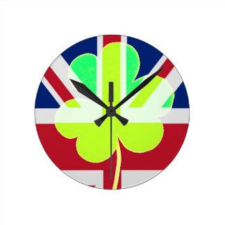 St. Patrick's Day Irish Shamrock Clover UK Flag Round Clock