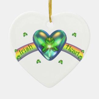 St. Patricks Day Irish Shamrock Heart Ceramic Ornament
