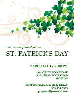 st patricks day irish shamrock party invitation