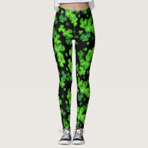 St. Patrick's Day Irish Shamrocks Pattern Leggings