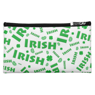 St Patrick's Day Irish Typography Collage Pattern Makeup Bag