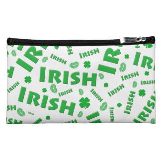St Patrick's Day Irish Typography Collage Pattern Makeup Bags