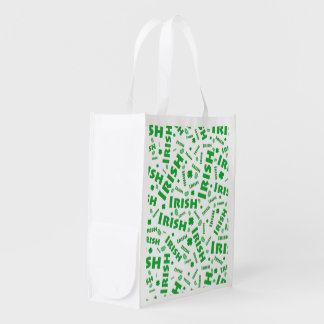 St Patrick's Day Irish Typography Collage Pattern Grocery Bags