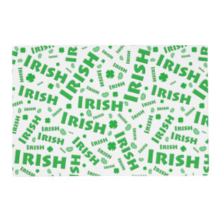 St Patrick's Day Irish Typography Collage Pattern Placemat