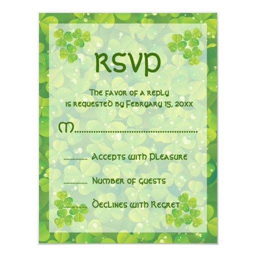 St. Patrick's Day Irish wedding response card