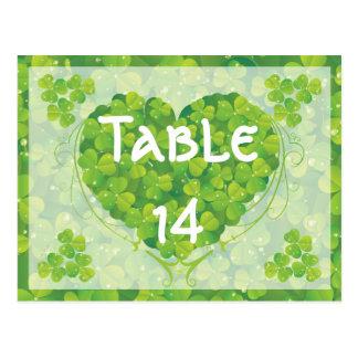 St. Patrick's Day Irish wedding table number Postcard