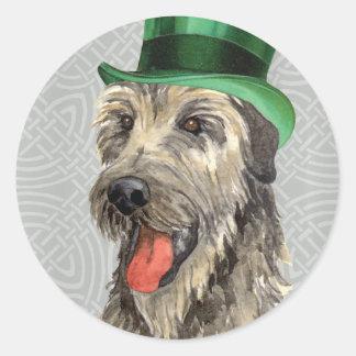 St. Patrick's Day Irish Wolfhound Round Stickers