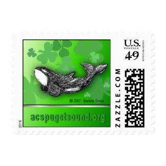 St. Patrick's Day killer whale postage stamp