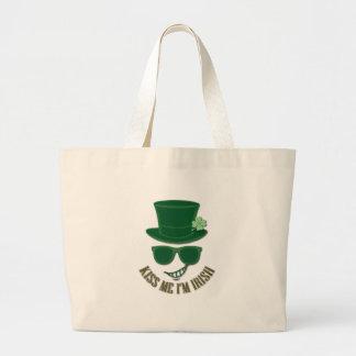 St Patrick's day kiss Me I'M Irish Large Tote Bag