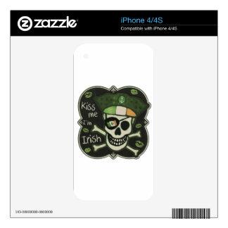 St. Patrick's Day Kiss Me I'm Irish Pirate iPhone 4 Decal