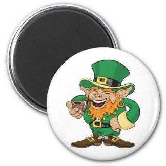 St. Patrick's Day leprechaun 2 Inch Round Magnet