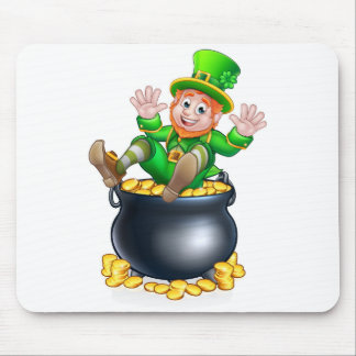 St Patricks Day Leprechaun and Pot of Gold Mouse Pad