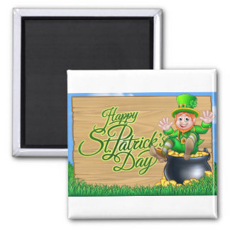 St Patricks Day Leprechaun and Pot of Gold Sign Magnet